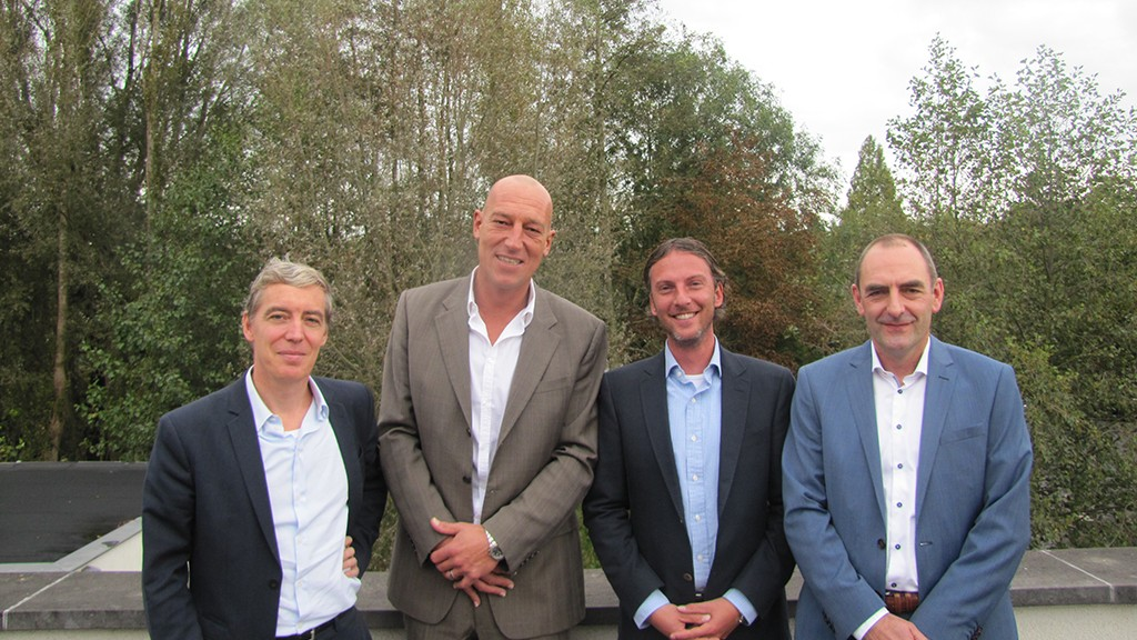 Vlnr: Mathieu Massart, AZ Sint Lucas; Patrick Ingelbinck, Apcoa Parking Belgium; Wim Teurlinckx, Automatic Systems; Serge Smets, WPS Belgium